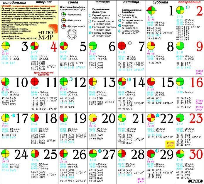 Лунный календарь 2014 год. Ноябрь 2014 год